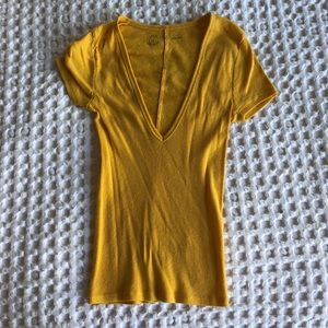 Yellow Ribbed Urban Outfitters V Neck